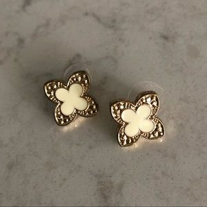 Jewelry - Gold & White Stud Earrings
